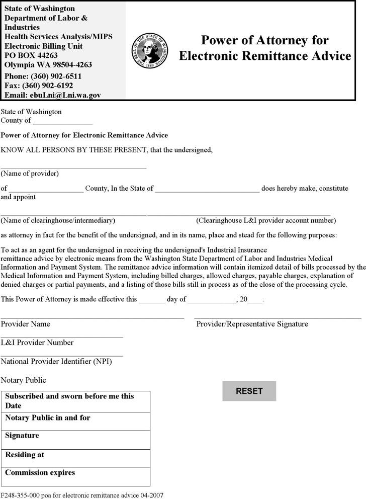 5 Washington Power Of Attorney Form Free Download