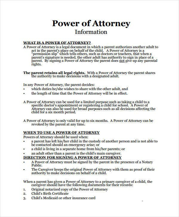9 Medical Power Of Attorney Forms Free Sample Example