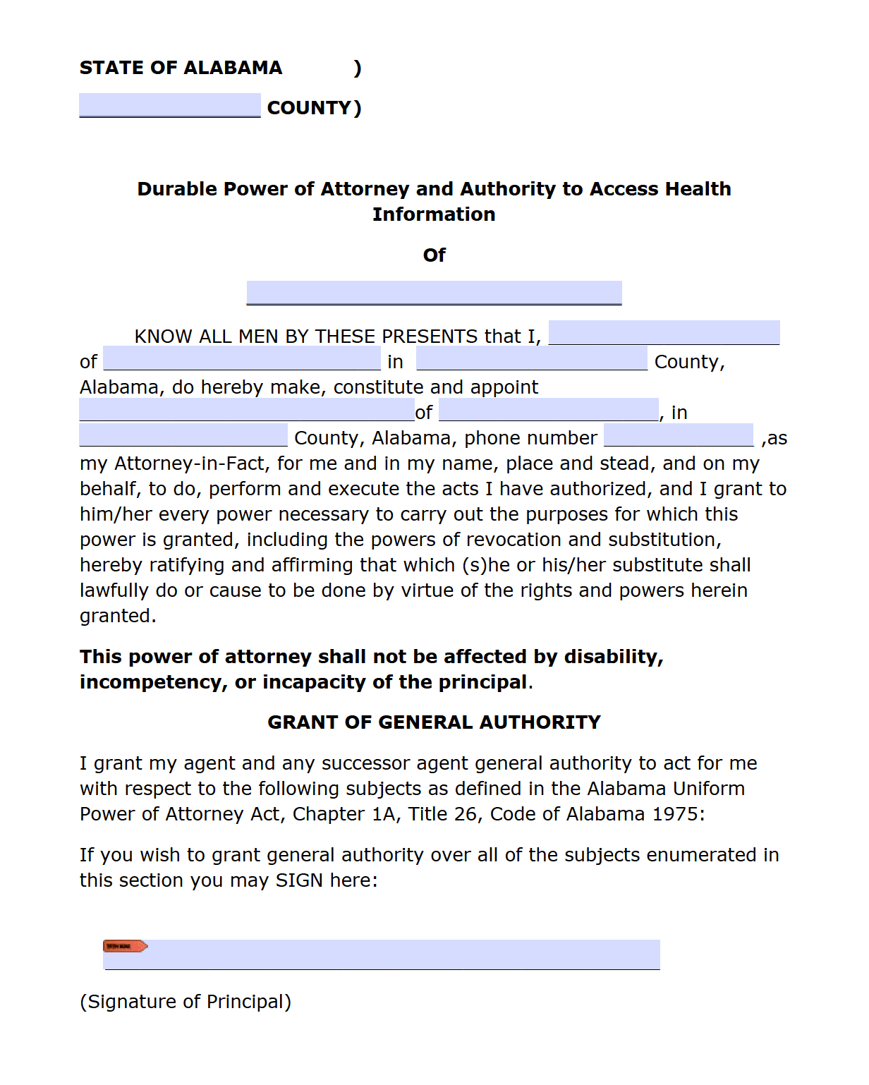 Alabama Durable Power Of Attorney Form Power Of Attorney