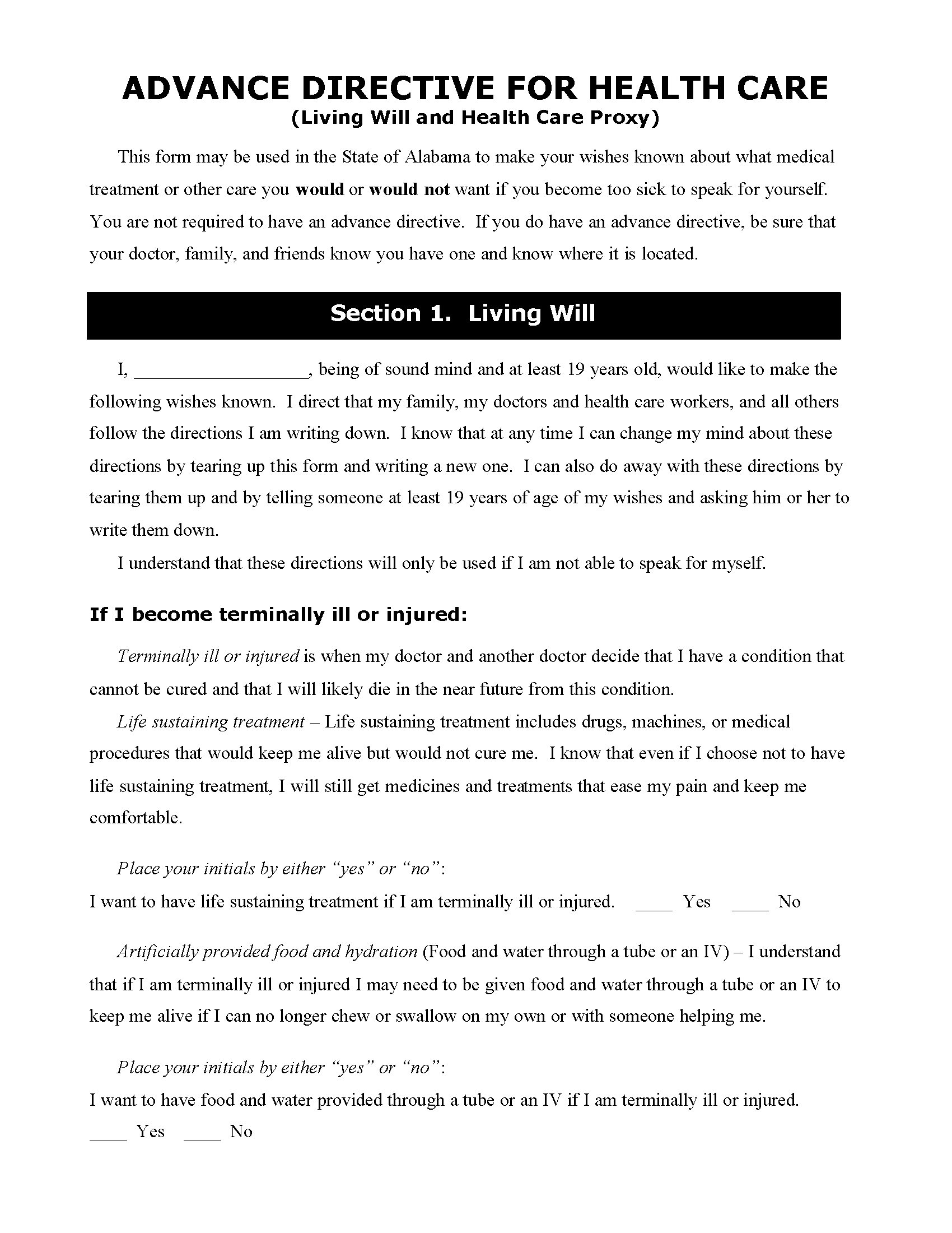 Alabama Medical Power Of Attorney Fillable PDF Free