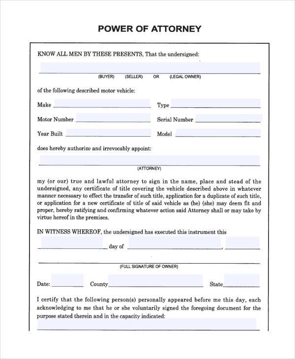 Best Printable Power Of Attorney Forms Derrick Website