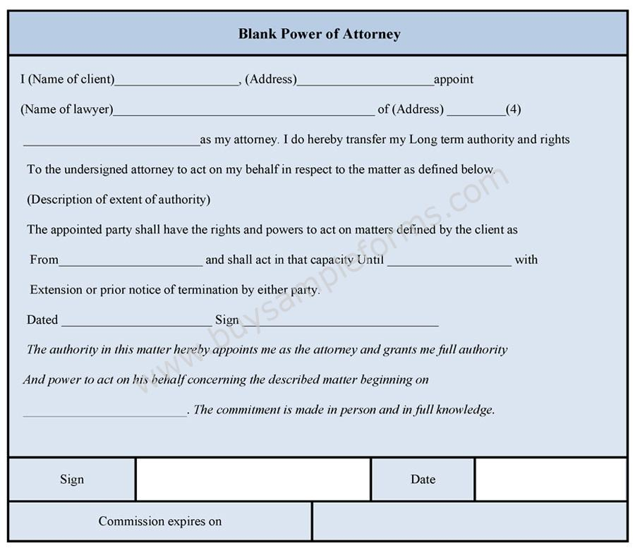 Blank Power Of Attorney Form Sample Forms