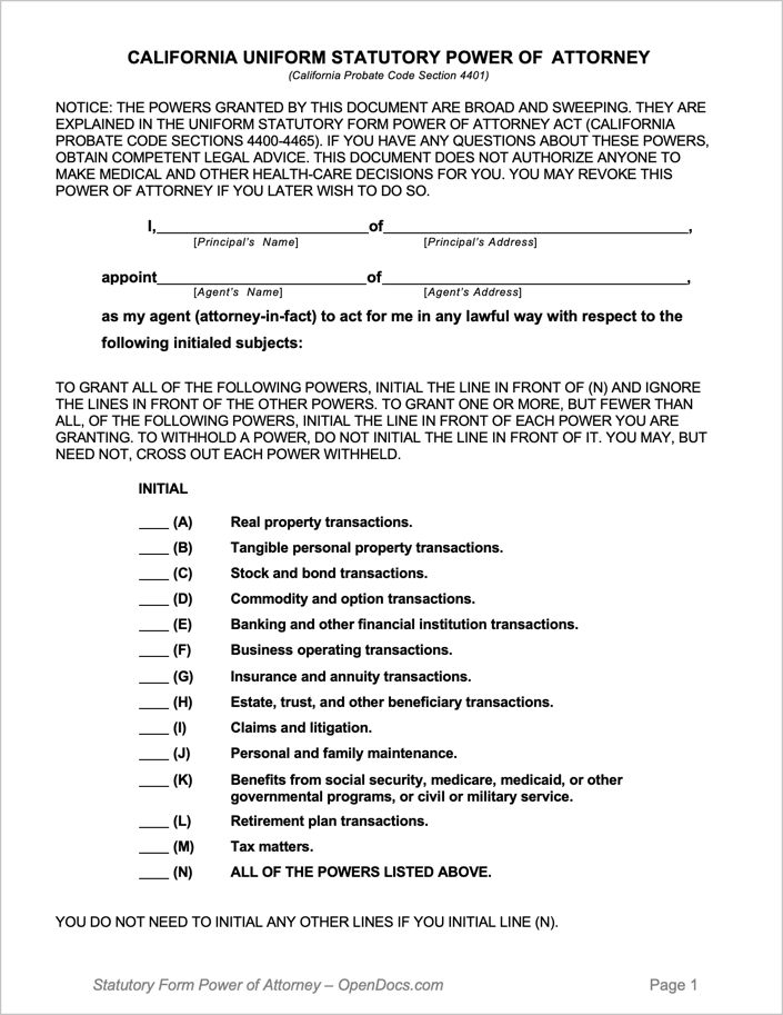 California Durable Power Of Attorney Form In 2020 Power