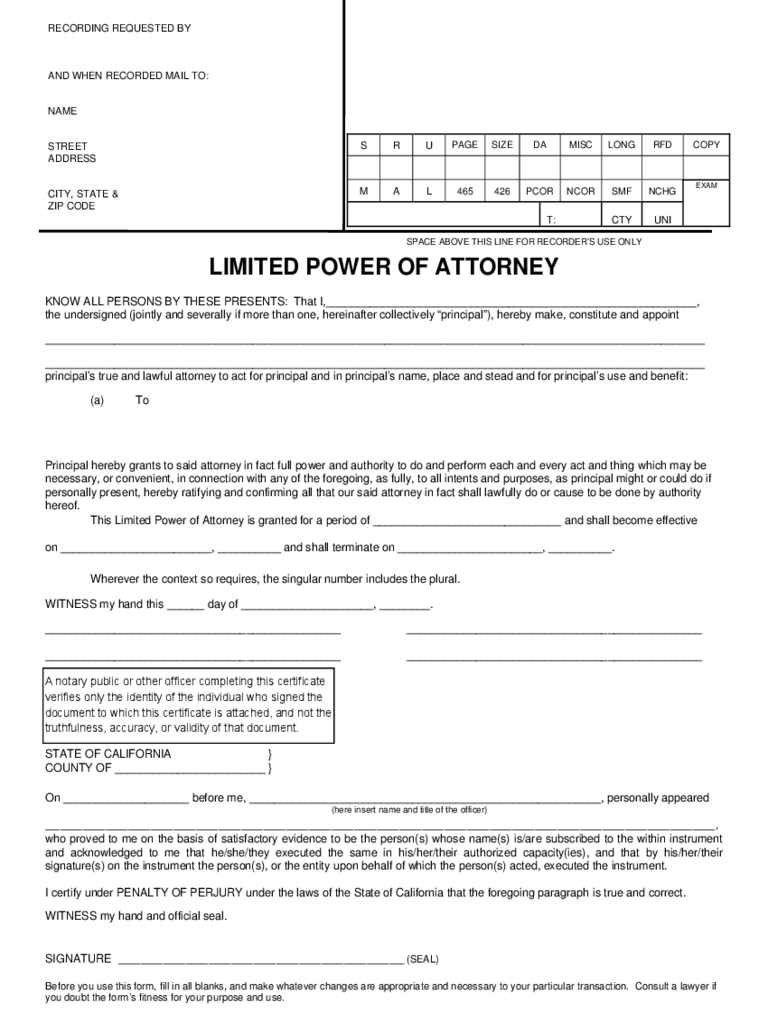 California Power Of Attorney Form Free Templates In PDF