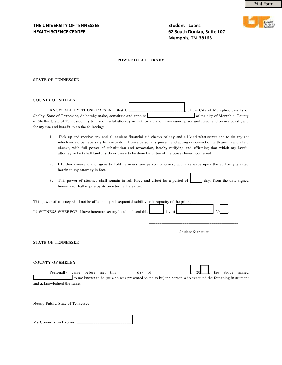 City Of Memphis Tennessee Power Of Attorney Form The