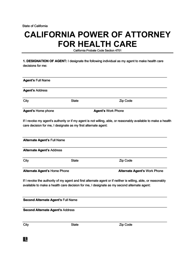 Create A California Medical Power Of Attorney Free PDF