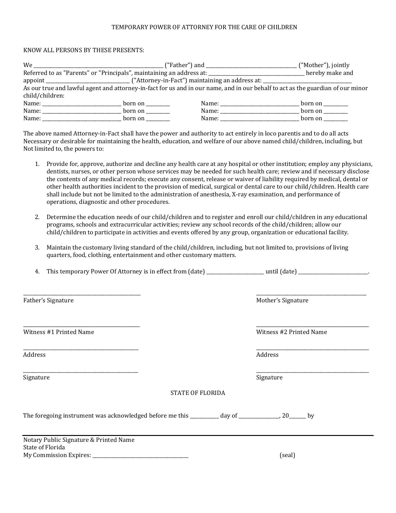 Download Florida Minor Child Power Of Attorney Form PDF