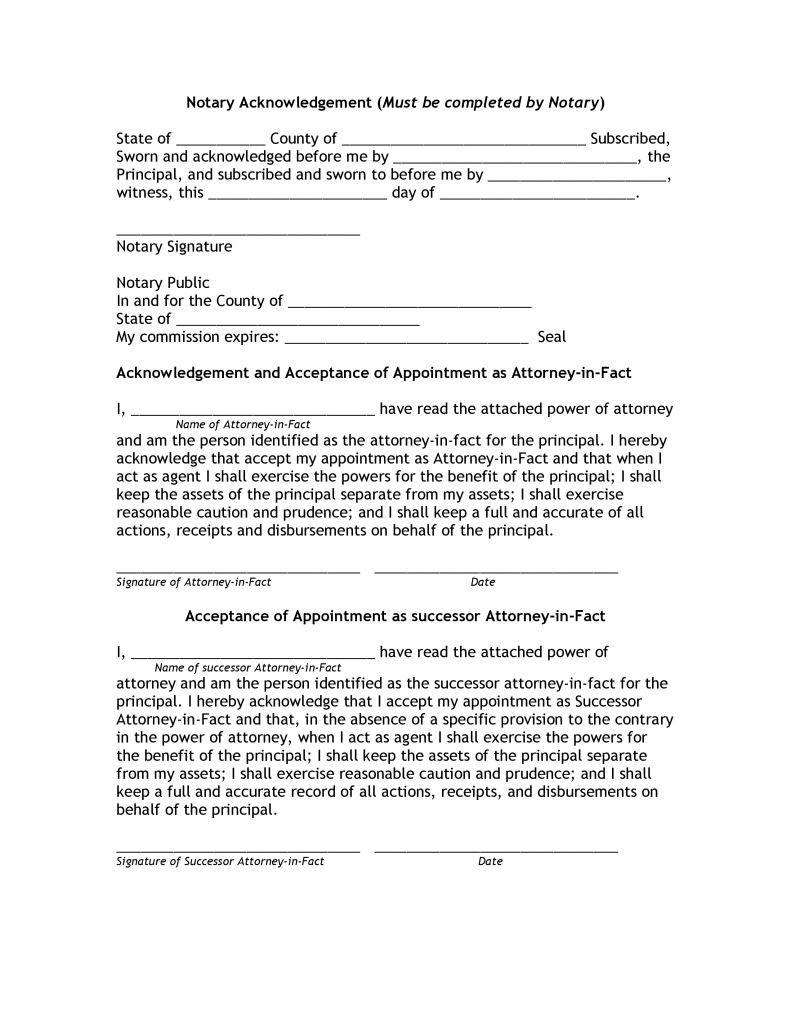 Download Free Power Of Attorney Notary Public Form Form