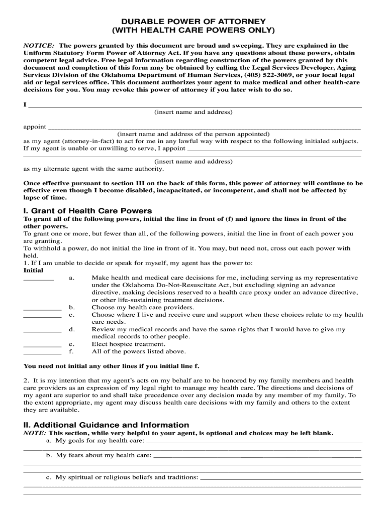 Durable Power Of Attorney Oklahoma Fill Out And Sign