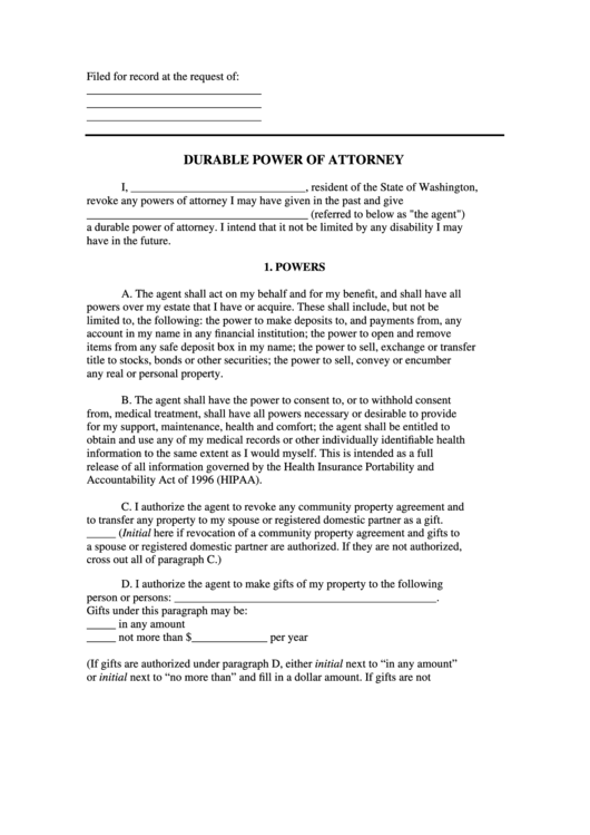 Fillable Durable Power Of Attorney Form State Of