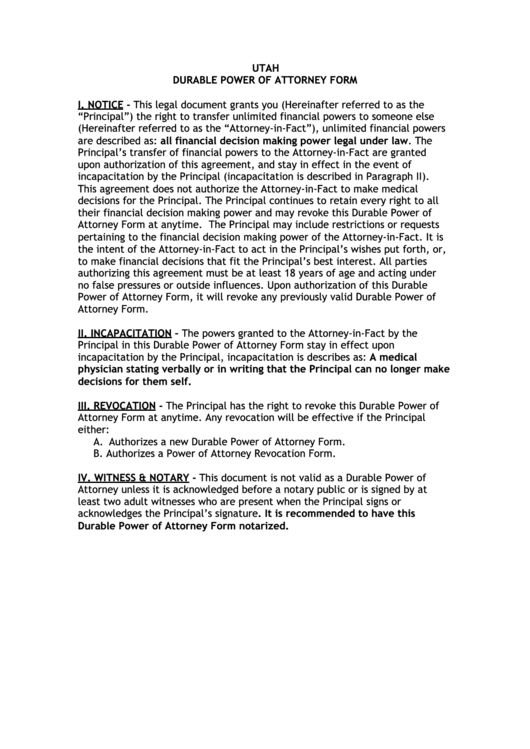 Fillable Utah Durable Power Of Attorney Form Printable Pdf
