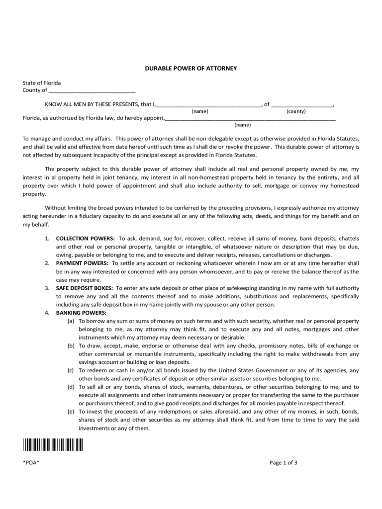 Florida Power Of Attorney Form Free Templates In PDF