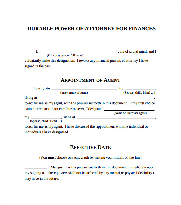 FREE 10 Sample Blank Power Of Attorney Forms In PDF MS Word