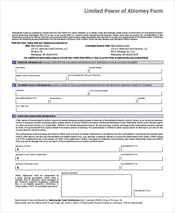 FREE 10 Sample Limited Power Of Attorney Forms In PDF