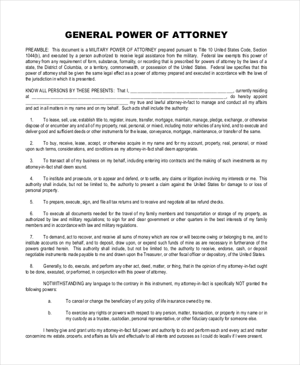 FREE 11 Sample General Power Of Attorney Forms In PDF