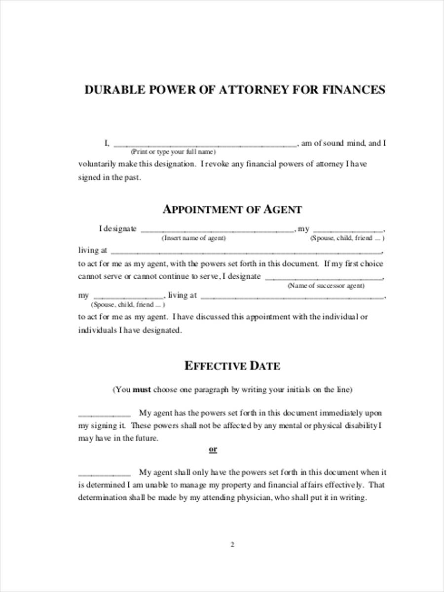 FREE 6 Financial Power Of Attorney Forms In PDF