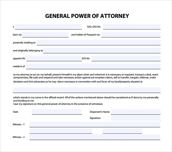 FREE 6 Sample General Power Of Attorney Forms In PDF MS