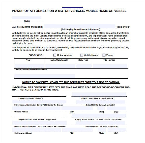 FREE 7 Blank Power Of Attorney Forms In PDF