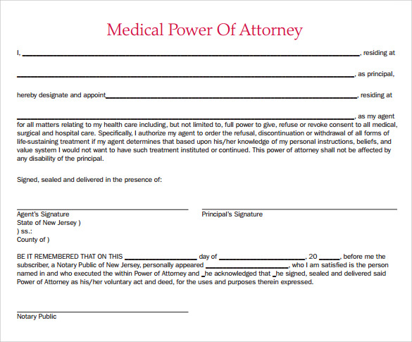 FREE 7 Sample Medical Power Of Attorney Forms In PDF