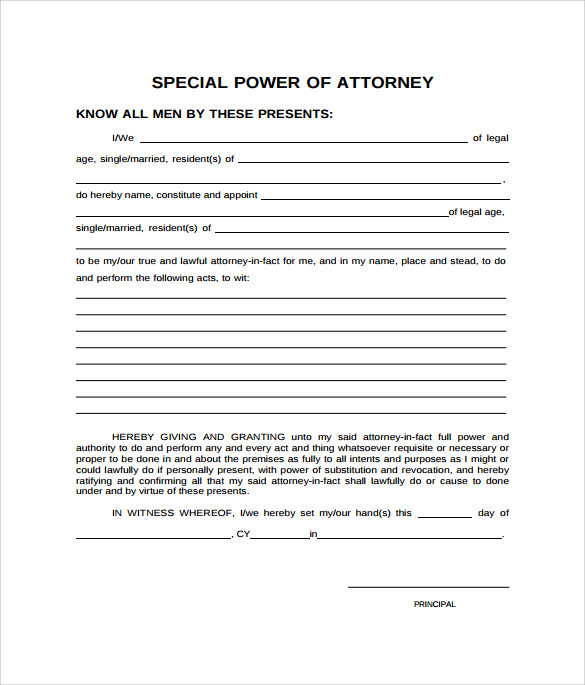 FREE 8 Sample Special Power Of Attorney Forms In PDF MS