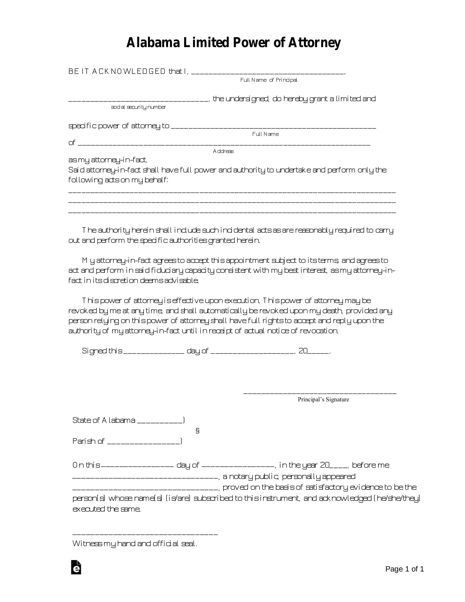 Free Alabama Limited Power Of Attorney Form PDF Word