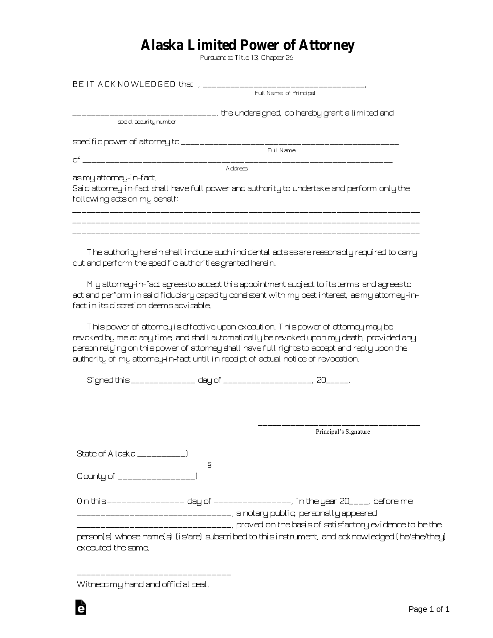 Free Alaska Limited Power Of Attorney Form PDF Word