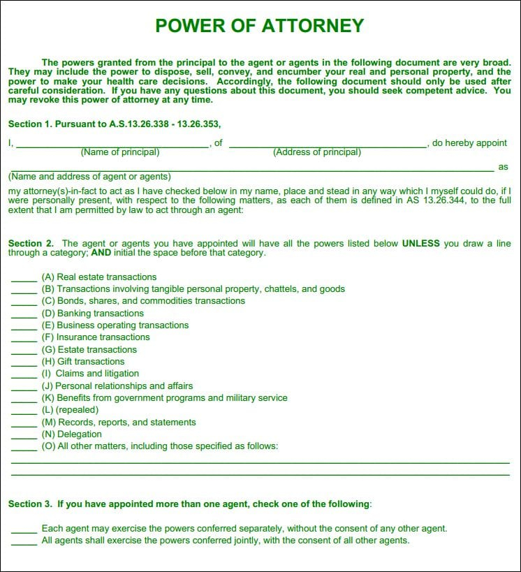 Free Alaska Statutory Power Of Attorney Form