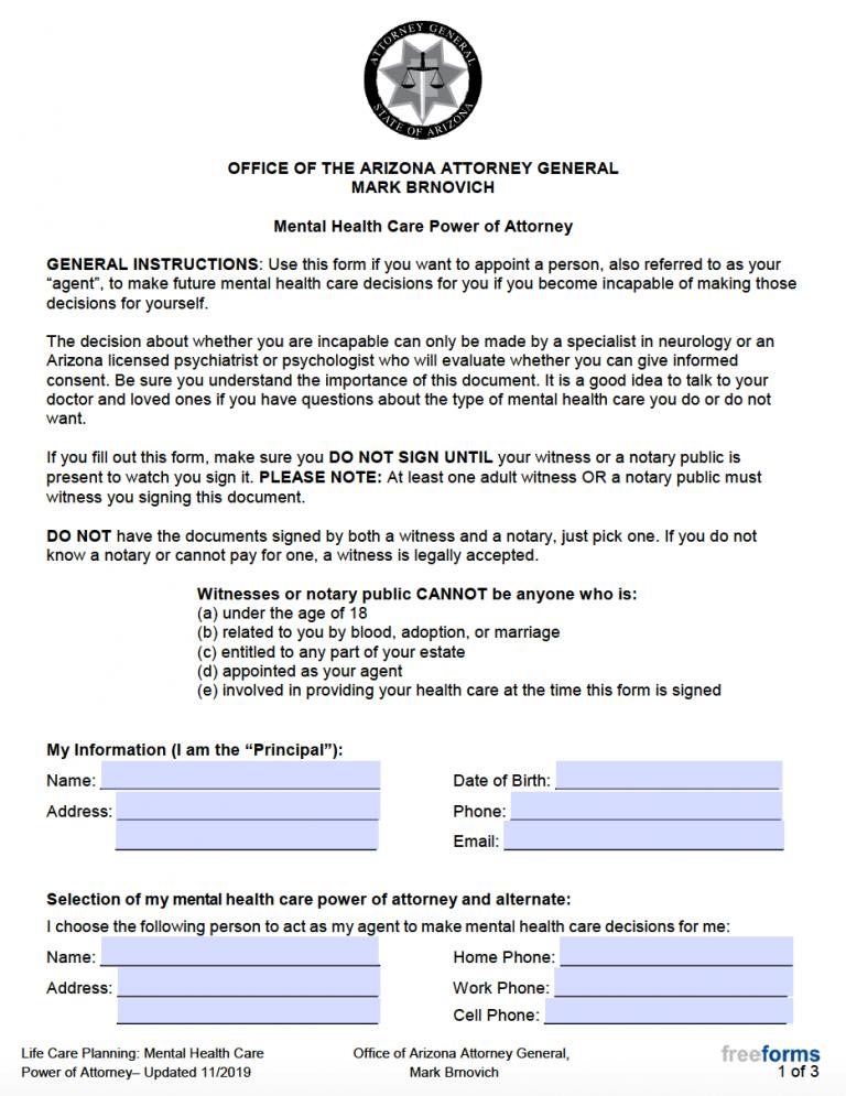 Free Arizona Mental Health Care Power Of Attorney Form PDF