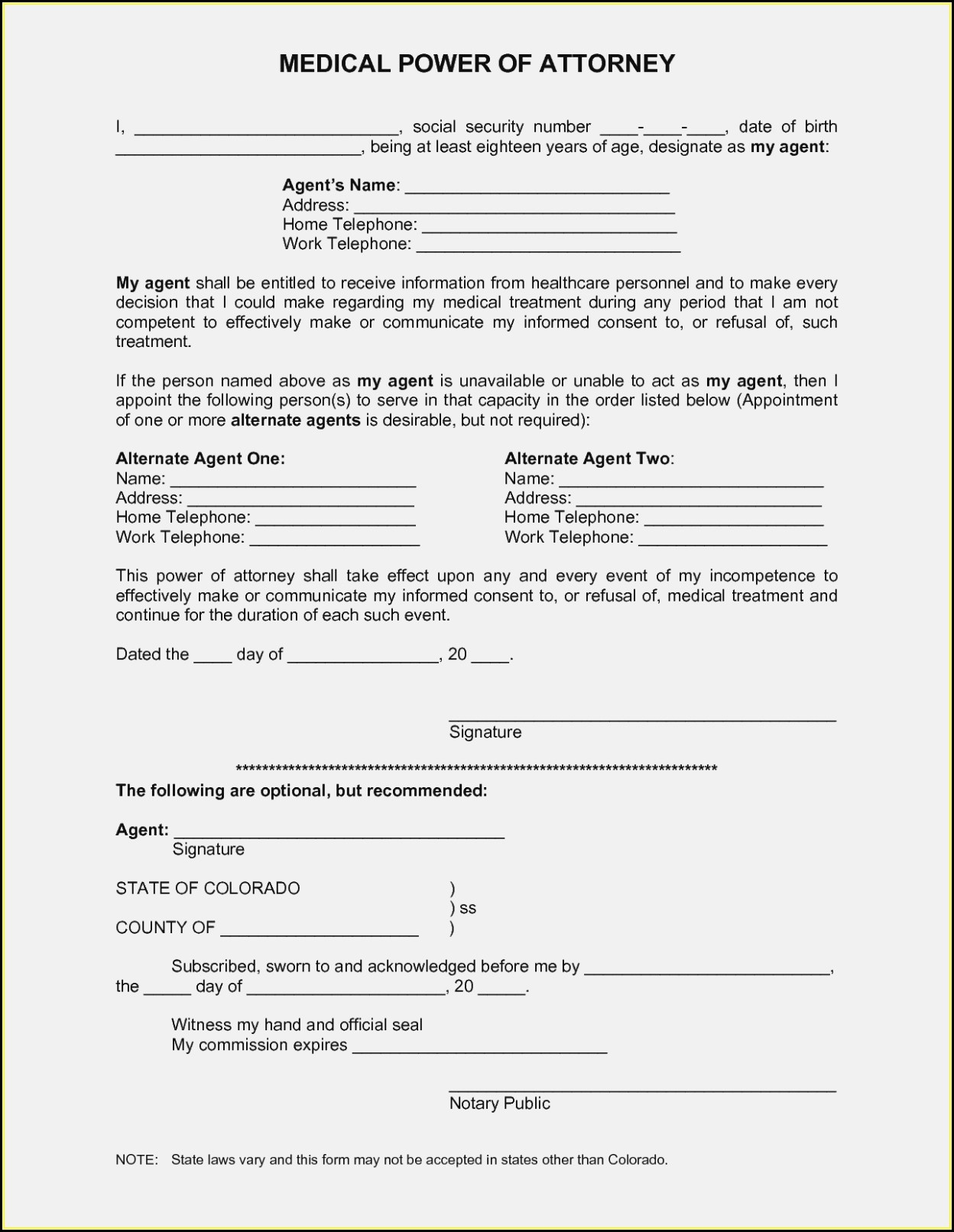 Free Blank Printable Medical Power Of Attorney Forms