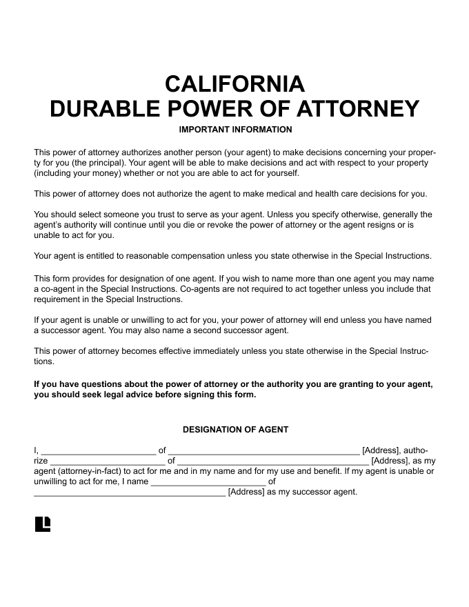 Free California CA Durable Power Of Attorney Form PDF