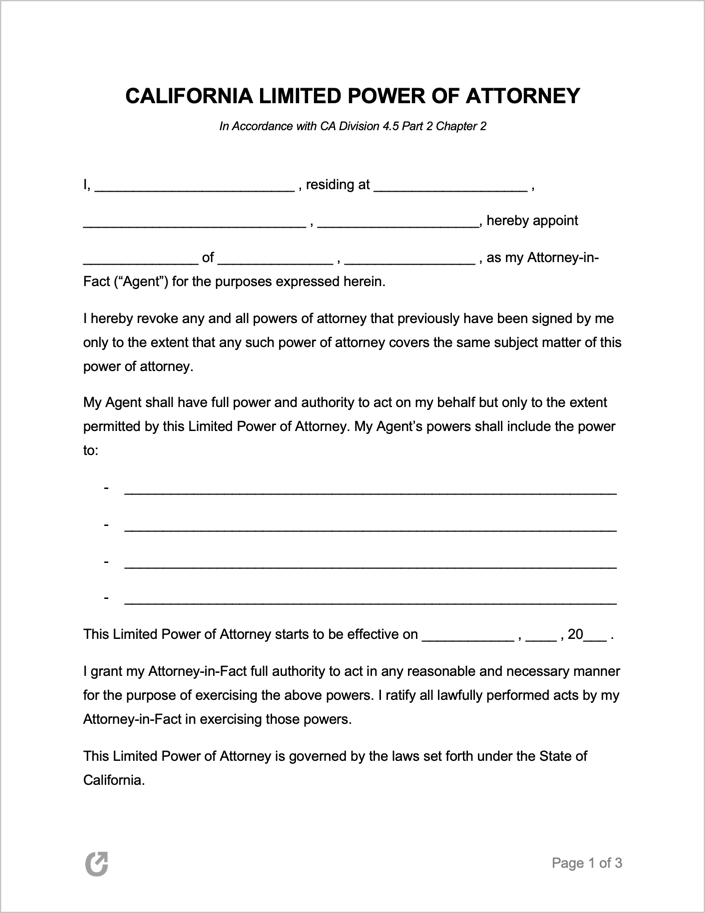 Free California Limited Special Power Of Attorney Form
