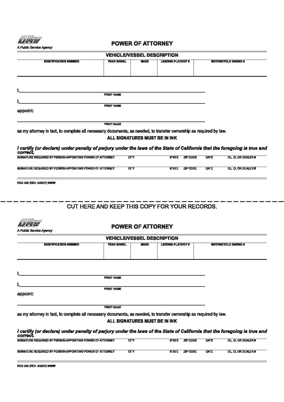 Free California Vehicle Vessel Power Of Attorney Form