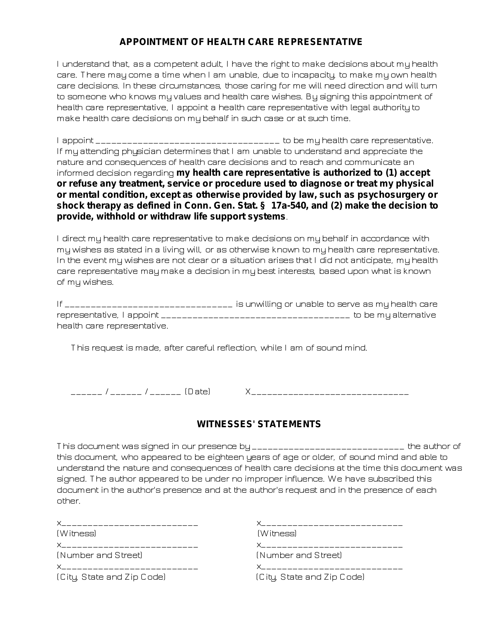 Free Connecticut Medical Power Of Attorney Form PDF EForms