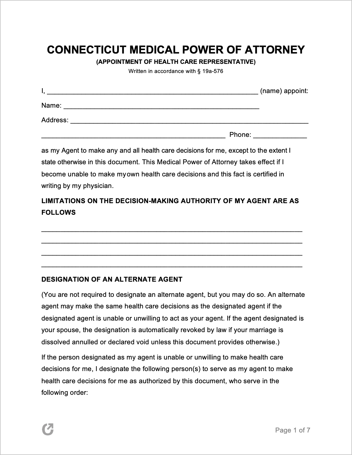 Free Connecticut Medical Power Of Attorney Form PDF WORD