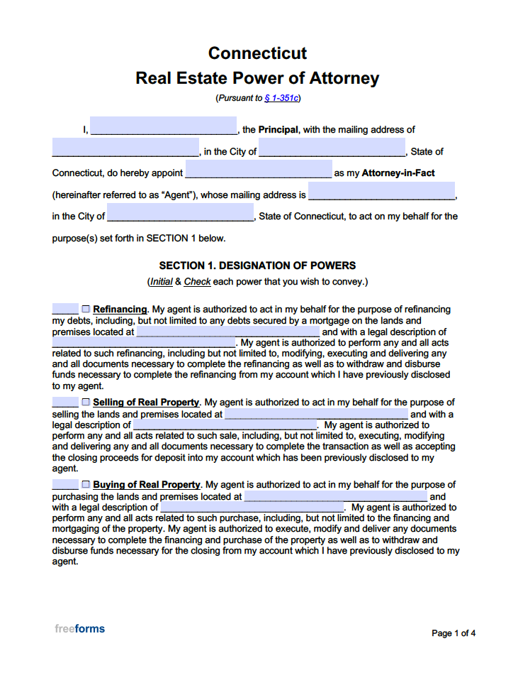 Free Connecticut Real Estate Power Of Attorney Form PDF