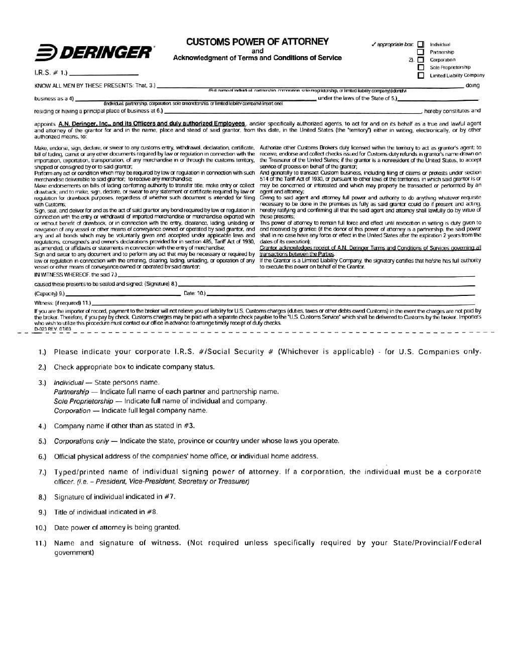 Free Deringer Customs Power Of Attorney Form