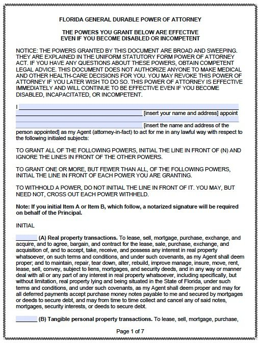 Free Durable Power Of Attorney Florida Form PDF Template