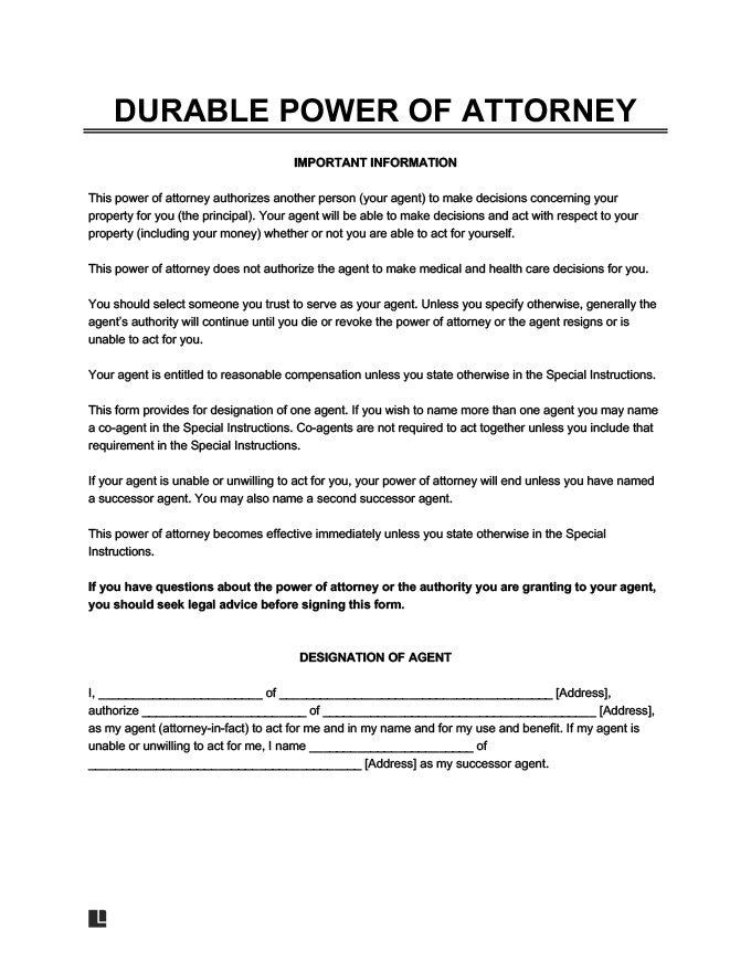 Free Durable Power Of Attorney Form DPOA Durable POA