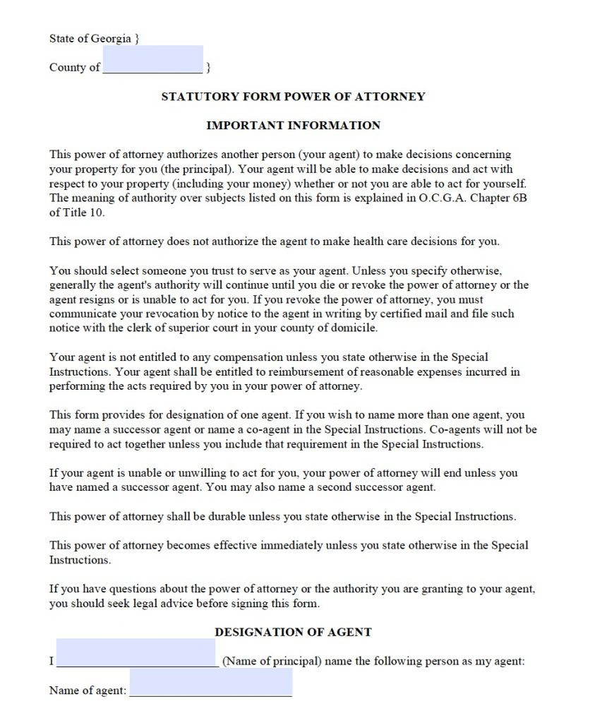 Free Durable Power Of Attorney Georgia Form Adobe PDF