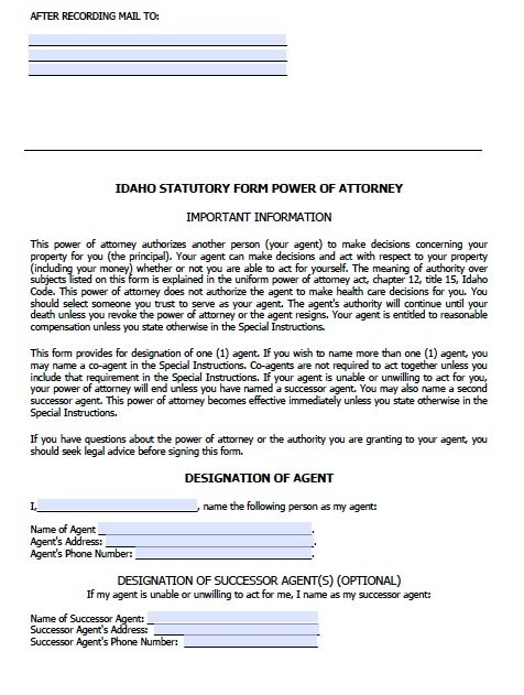 Free Durable Power Of Attorney Idaho Form Adobe PDF