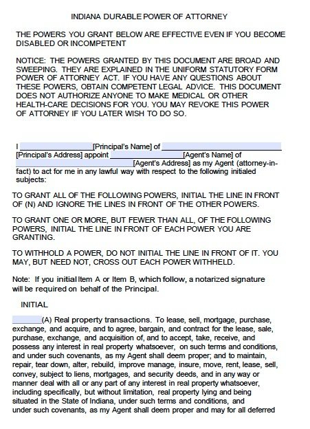 Free Durable Power Of Attorney Indiana Form Adobe PDF
