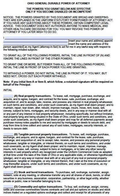 Free Durable Power Of Attorney Ohio Form Adobe PDF