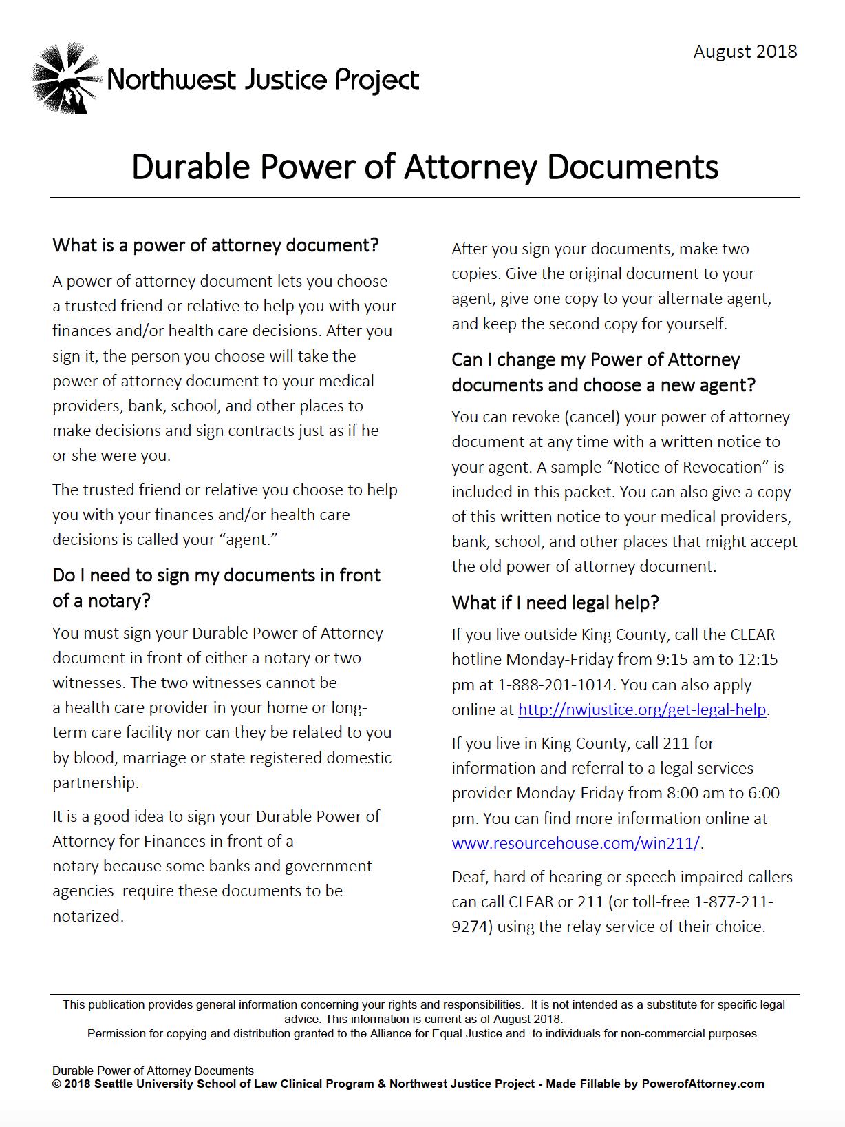 Free Durable Power Of Attorney Washington Form Adobe PDF