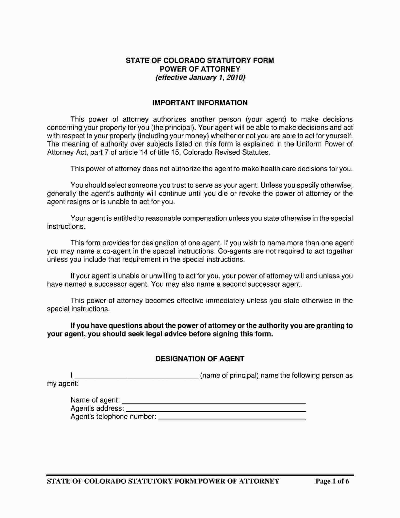 Free Fillable Colorado Power Of Attorney Form PDF Templates