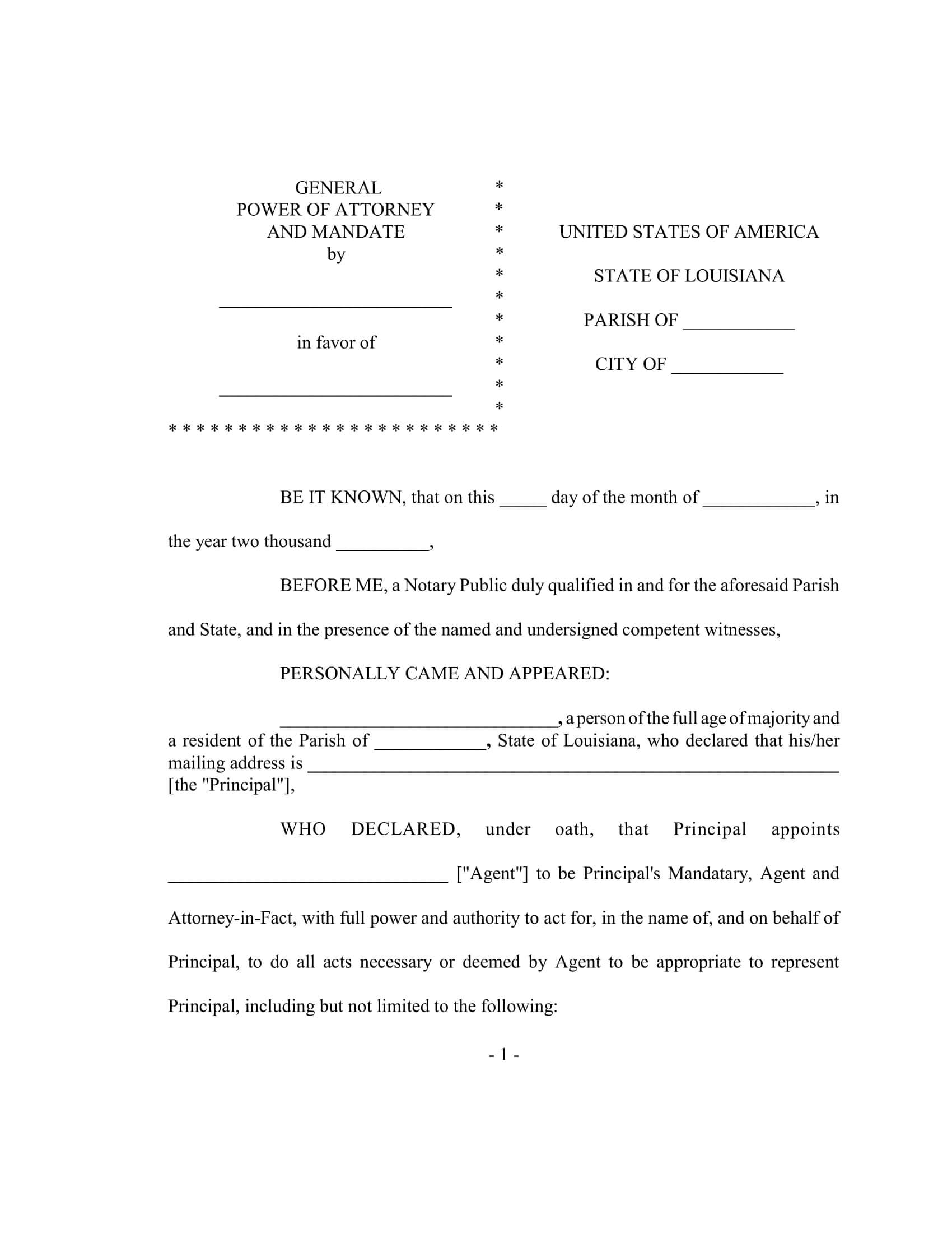 Free Fillable Louisiana Power Of Attorney Form PDF Templates