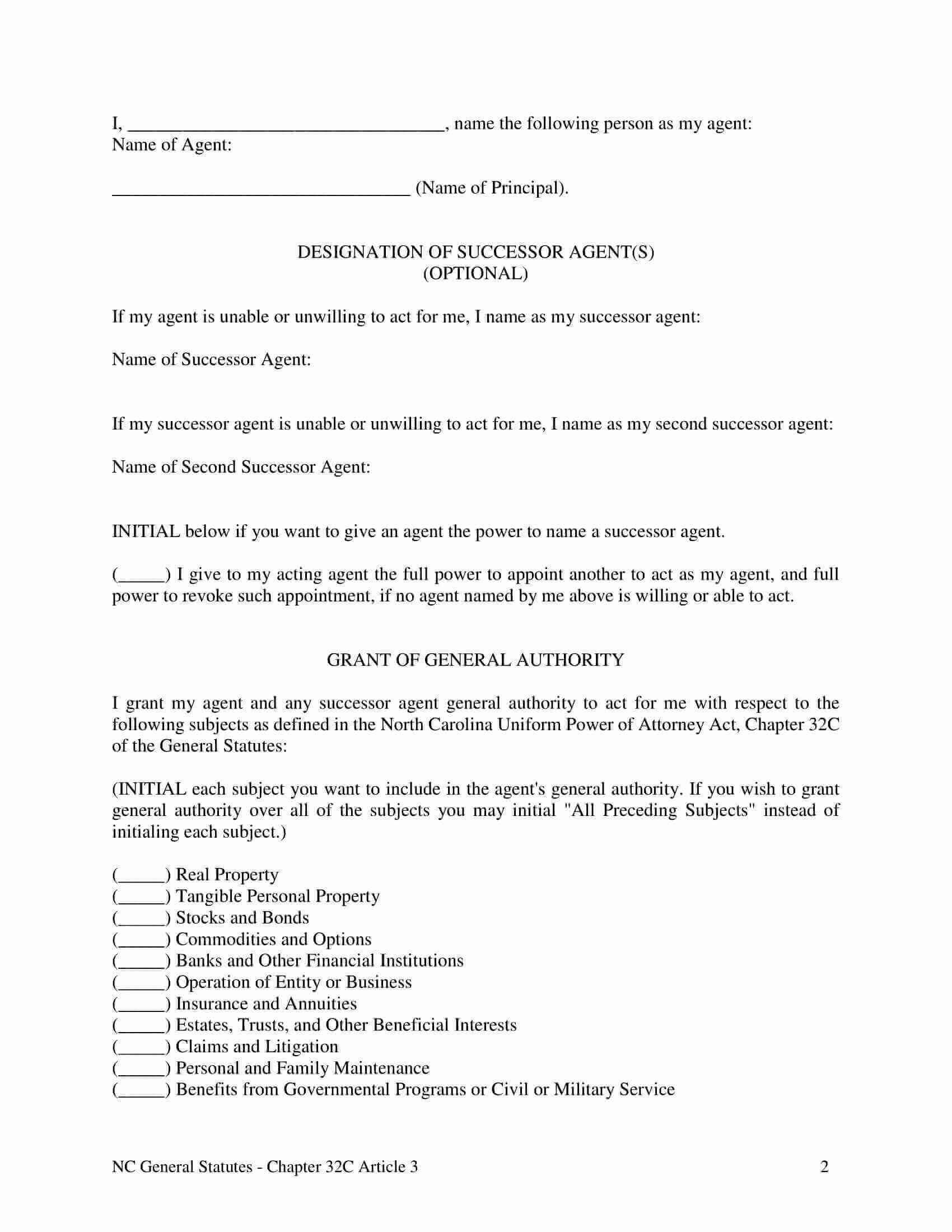 Free Fillable North Carolina Power Of Attorney Form PDF