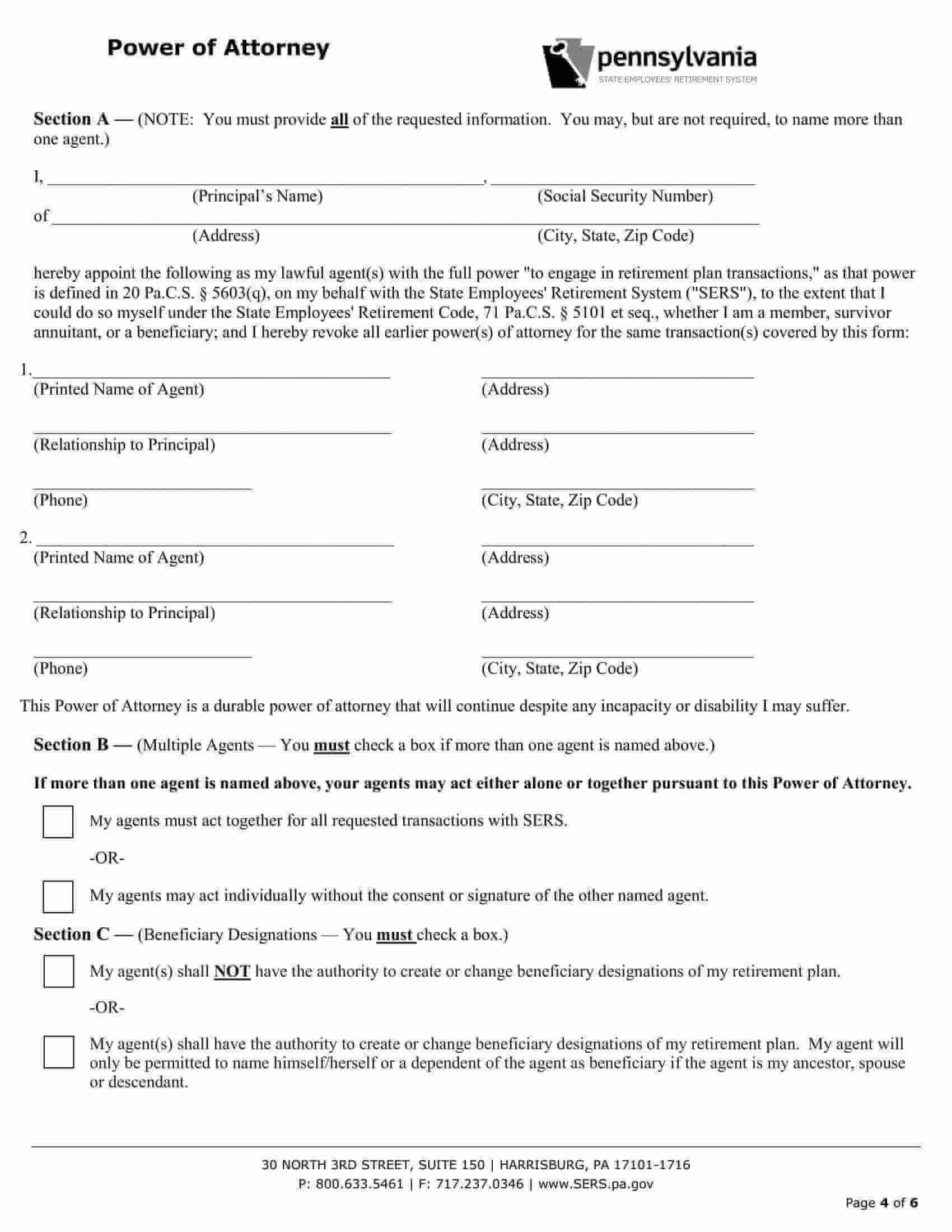 Free Fillable Pennsylvania Power Of Attorney Form PDF