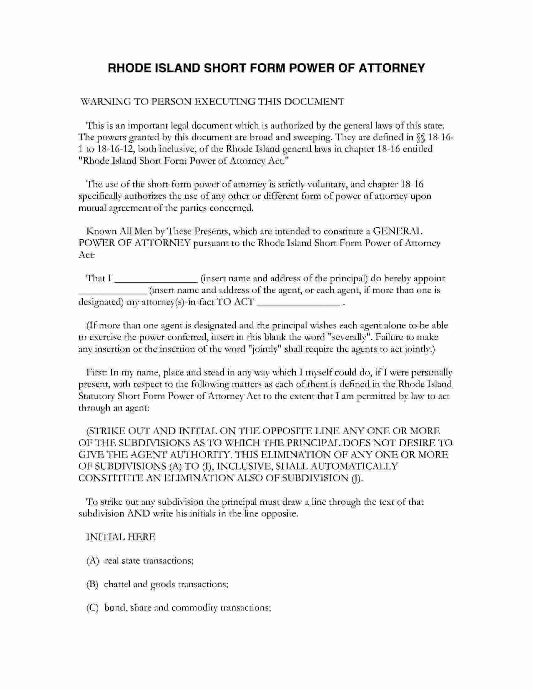 Free Fillable Rhode Island Power Of Attorney Form PDF