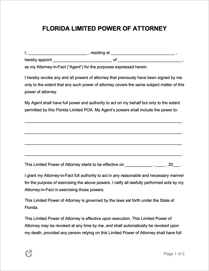 Free Florida Limited Power Of Attorney Form PDF WORD