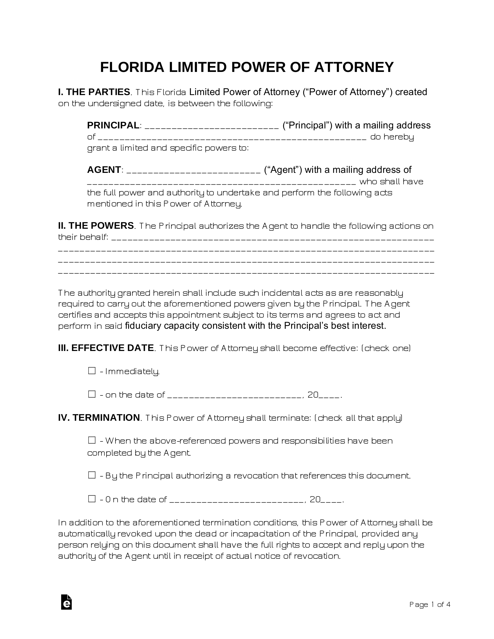 Free Florida Limited Power Of Attorney Form Word PDF